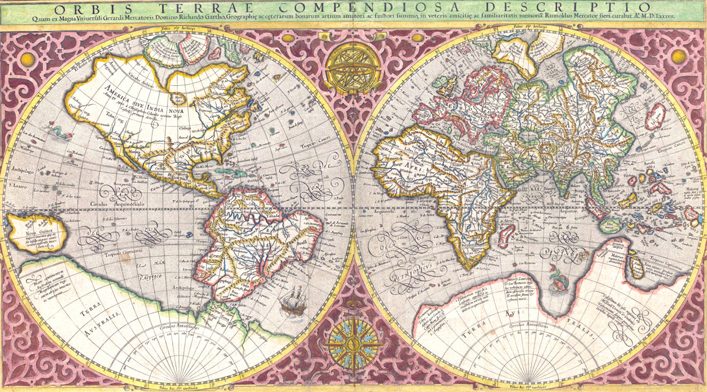 Planisfério de Rumold Mercator - 1587